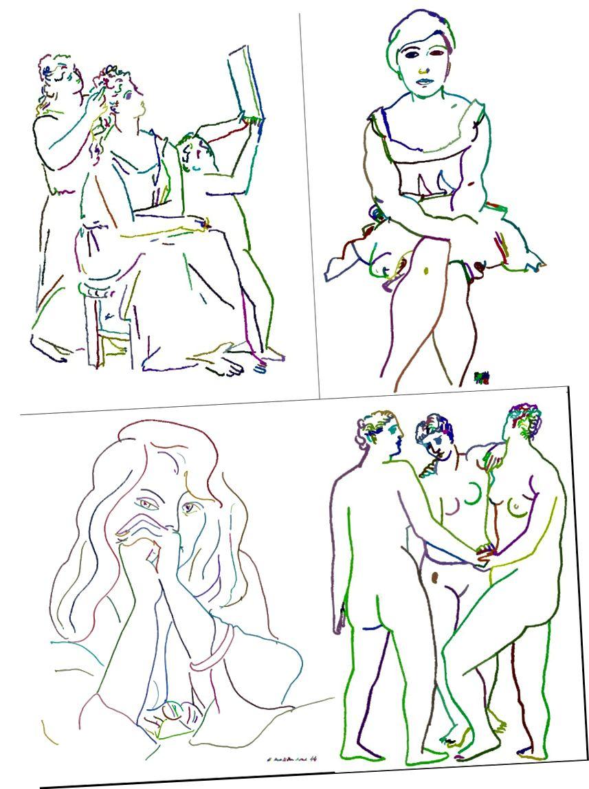 أمثلة على استخراج السكتة الدماغية من قبل نظامنا: Top: Picasso، Schiele، Bottom: Matisse، Picasso