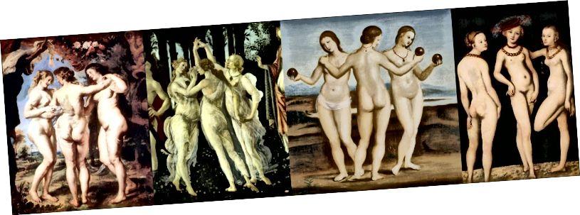 Rubens, Boticelli, Rafaele və Lucas Cranach Elder tərəfindən Üç Grace. Onlar kişilər tərəfindən hazırlanmışdır.