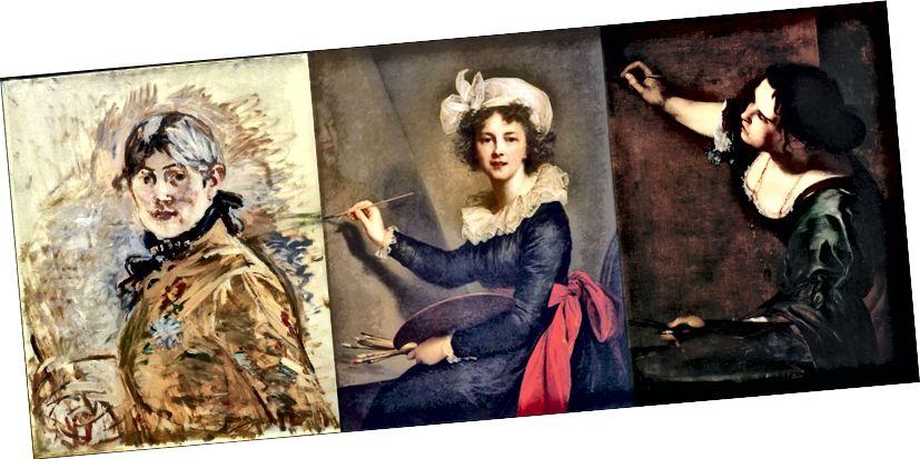 Berthe Morisot (XIX), Louise Elisabeth Vigée Le Brun (XVIII) və Artemisia Gentileschi (XVII) tərəfindən hazırlanan avtoportretlər.
