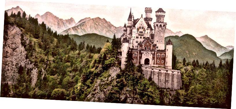 Fotochrom tisk přední strany zámku Neuschwanstein, Bavorsko, Německo, c. 1900, prostřednictvím Kongresové knihovny