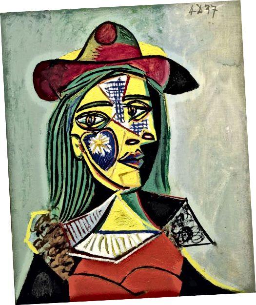 Վլադիմիր Տրետիչիկոֆի «Կանաչ տիկինը» (1952) (ձախ) և Պաբլո Պիկասոյի «Կինը գլխարկով և մորթյա օձիքով» (1937) (աջ)