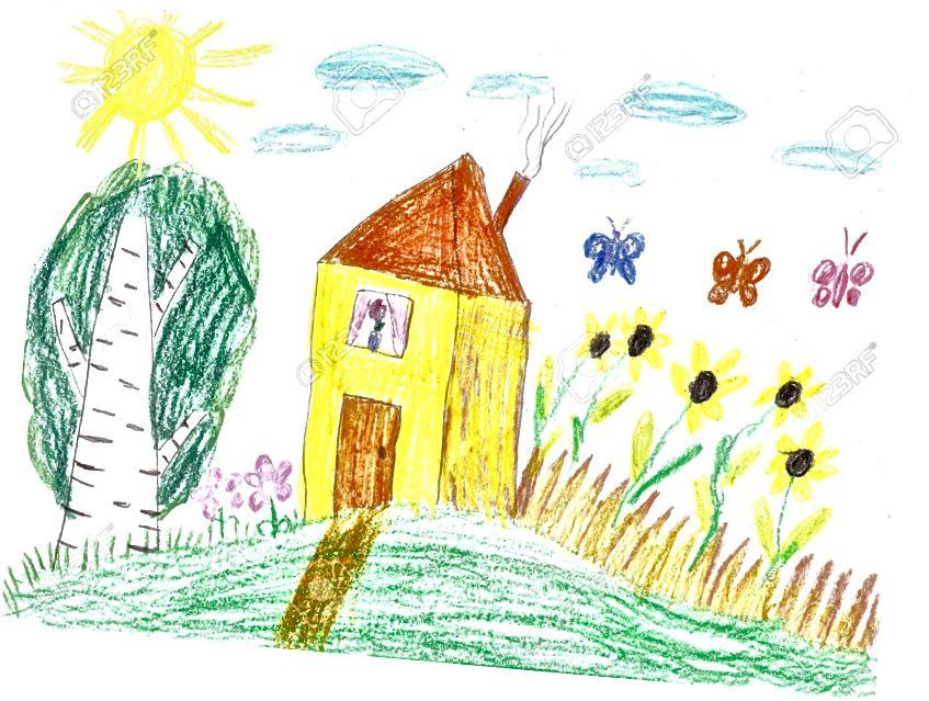 Թոմաս Կինկադե տնակ (ձախ) տպագրություն, դեղին տան (աջ) մանկական գծանկար