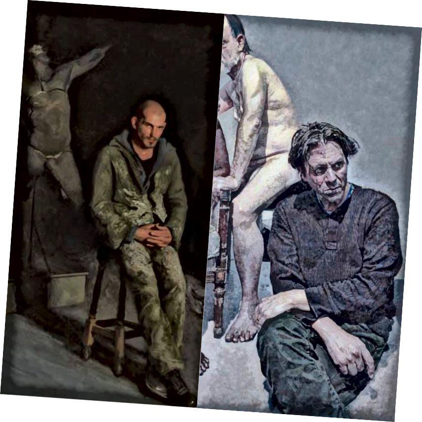Solda: Jamie Coreth tərəfindən qırılan Bədənlər, Bernardo Siciliano tərəfindən Vinsent Desiderio