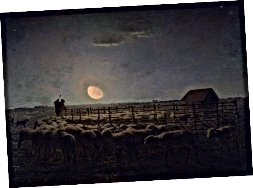 Die Schafherde bei Mondschein, 1856–60. Millet war ein Meister der Lichtmalerei und zeigte oft Szenen der frühen Morgen- oder Abenddämmerung.