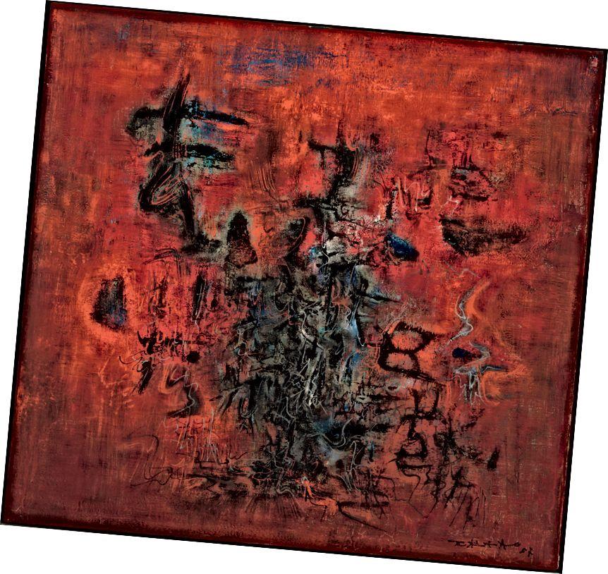 Zao Wou-Ki, Rouge, bleu, noir (Կարմիր, կապույտ, սև), 1957. Յուղ կտավից