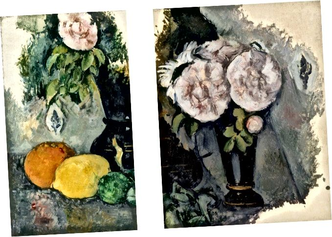 Paul Cézanne, «Ծաղիկներ և մրգեր» և «Ծաղիկներ ծաղկամանով» (v. 1880)