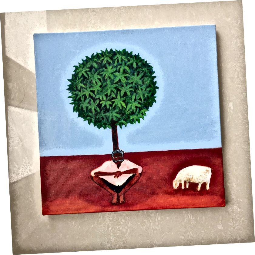 Հովիվ, կտավից յուղ ՝ 12 x x 12 – ով