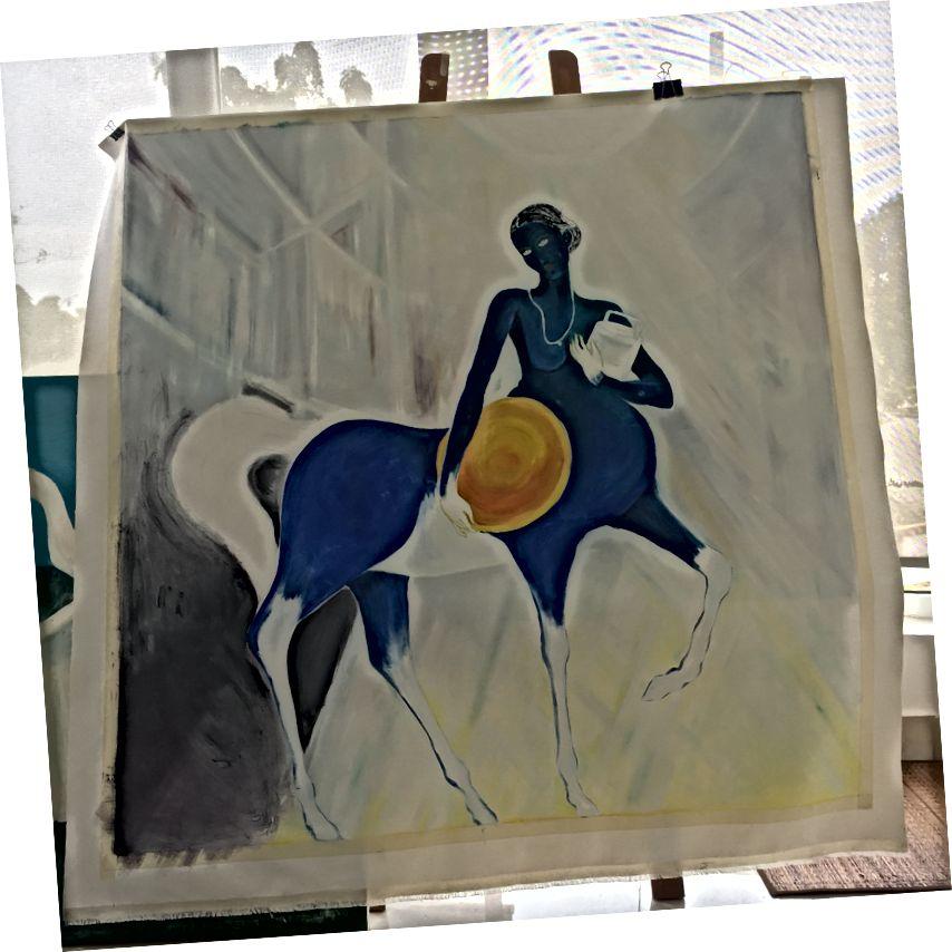 Աշխատող կին ՝ յուղ ՝ կտավի վրա, 4 ft x 4 ft