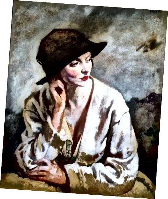 Nyonya Dalloway, kecuali tidak, itu benar-benar 'A Woman Thinking-Miss Sinclair' oleh Sir William Orpen, 1930.