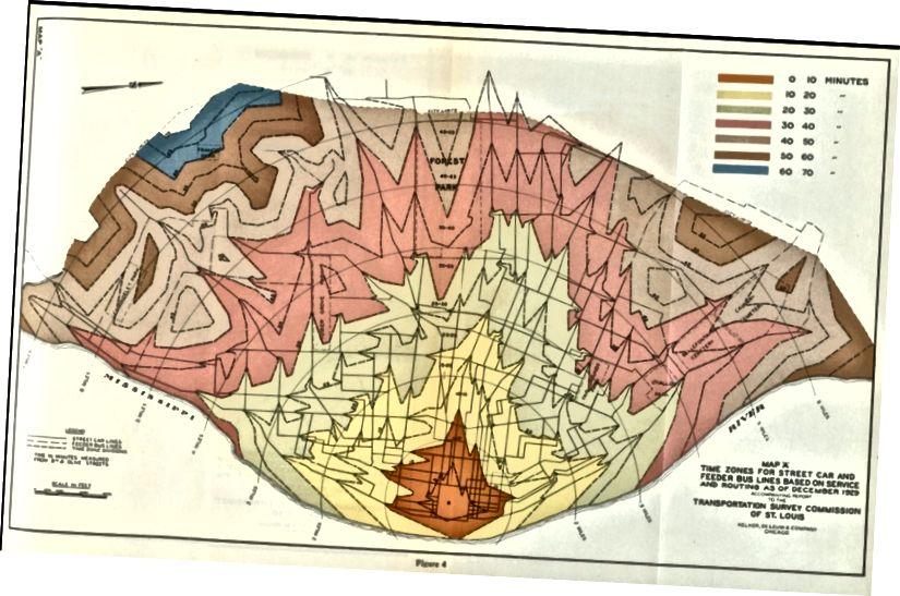 Vizualizace tranzitního času St. Louis, 1929