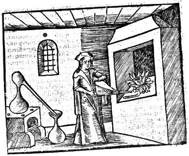 1500 ల నుండి రసవాది యొక్క వుడ్కట్.
