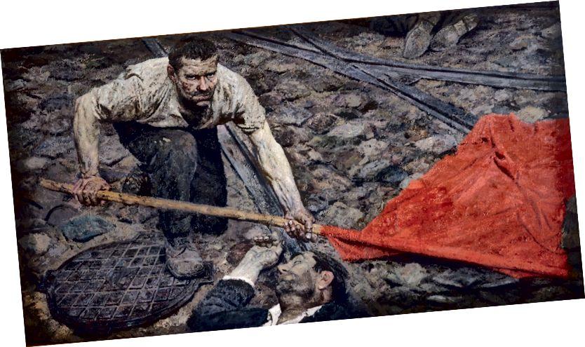 """Klasický příklad socialistického realismu, Geli Korzhev's """"Raising the Banner"""""""