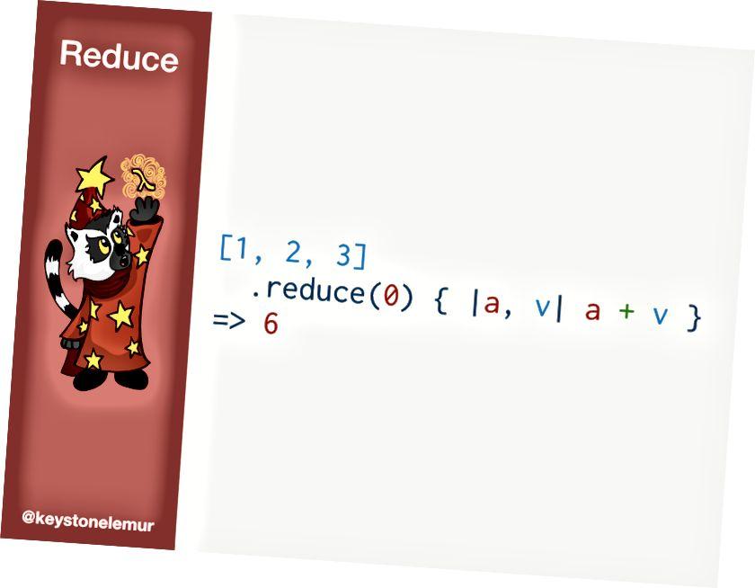 [1,2,3] .редуциране (0) {  a, v   a + v} # => 6
