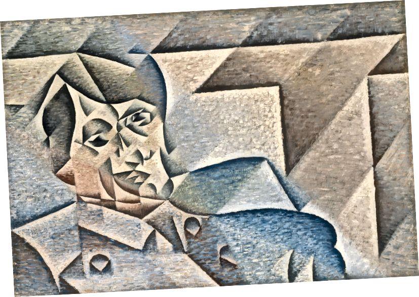 Хуан Грис, Портрет на Пикасо (детайл), 1912 г. (източник: Уикипедия)
