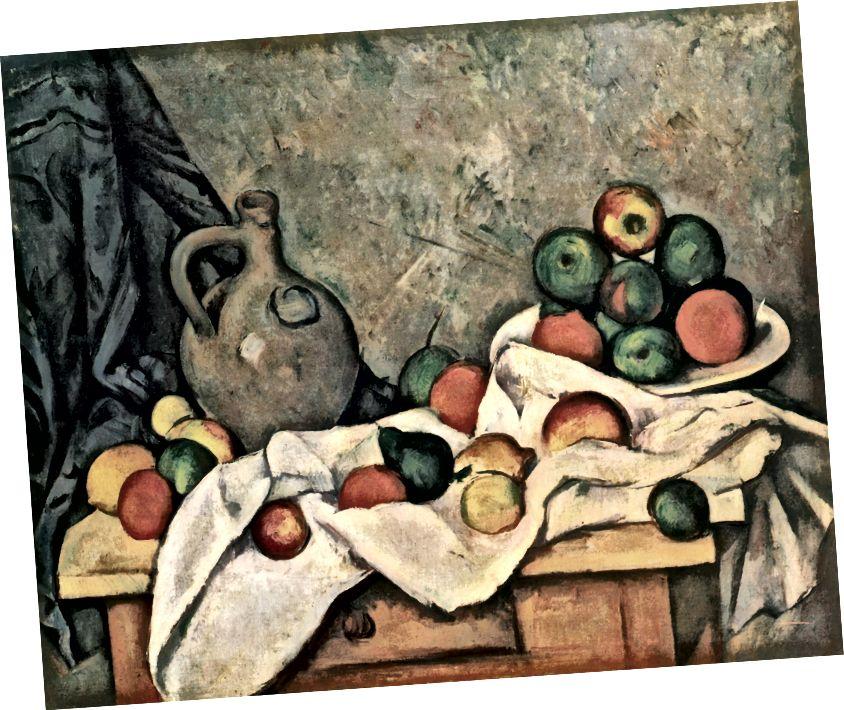 Paul Cézanne, Stillleben, Vorhänge, Krug und Obstschale 1893–1894. (Wikipedia)