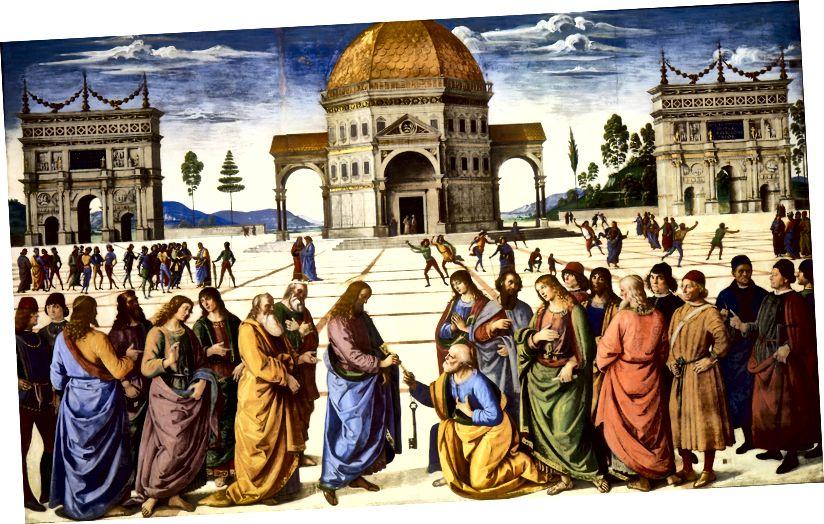 Перспектива на една точка е измислена през Възраждането. Техниката на подреждане позволява на художниците да конструират илюзия за пространство в своите картини, за да представят виртуална реалност. Пиетро Перуджино, Доставката на ключовете, 1481–2. (Източник: Уикипедия)