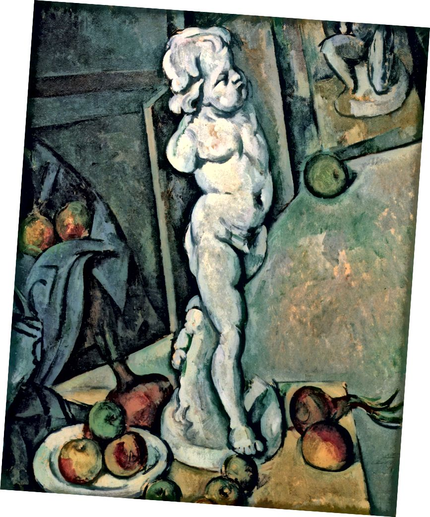 """Paul Cézanne, Stillleben mit Cherub, 1895. Dieses bemerkenswerte Stillleben hat den in den Gemälden des Künstlers üblichen """"Kippeffekt"""". (Wikipedia)"""