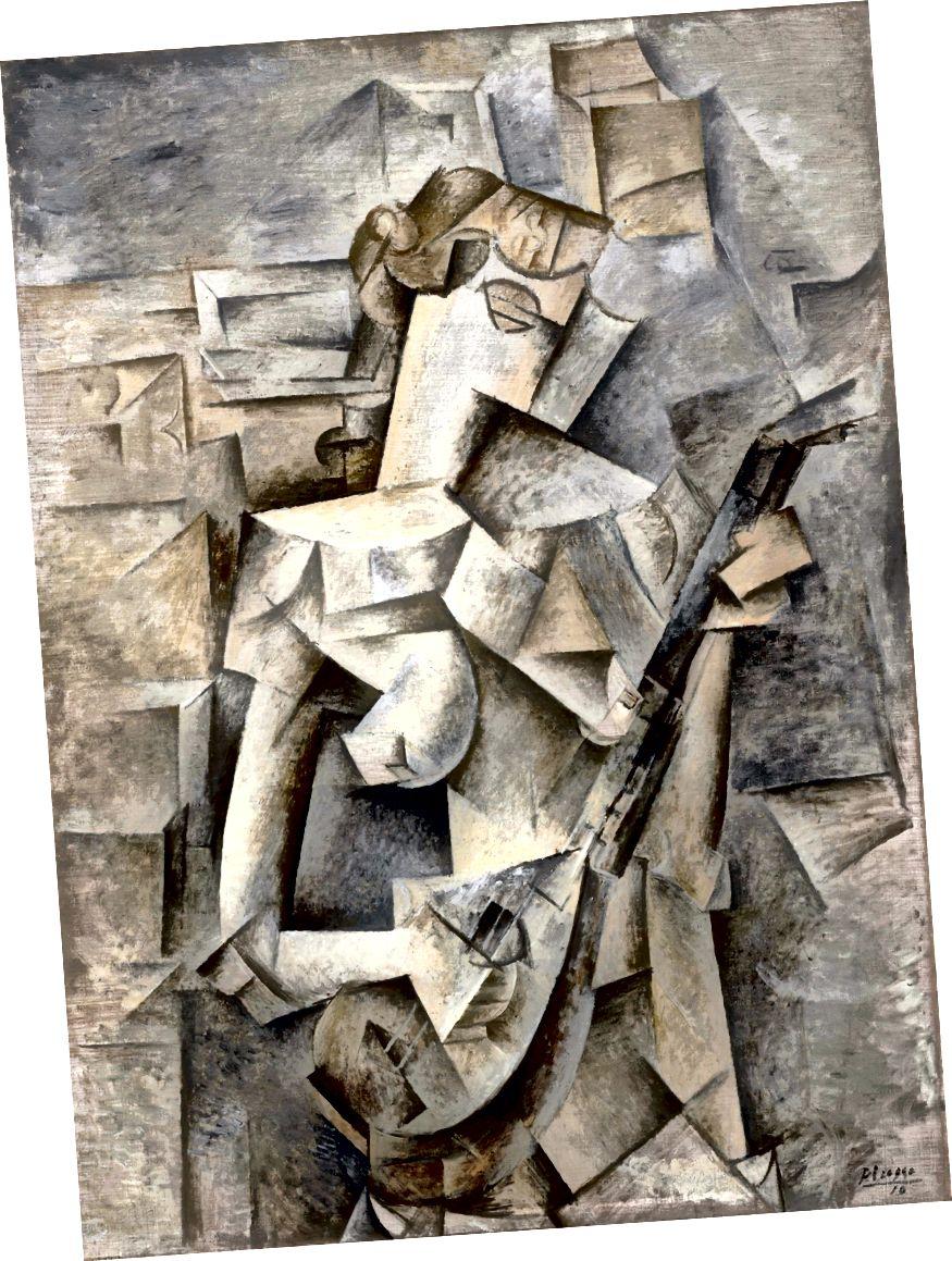 Pablo Picasso, Mädchen mit einer Mandoline (Fanny Tellier), 1910. (Quelle: Wikipedia)