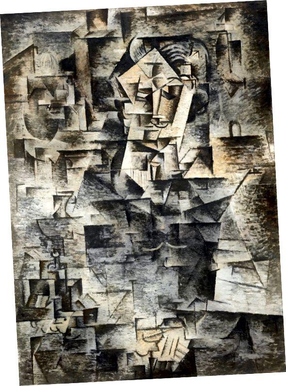 Пабло Пикасо, портрет на Даниел-Хенри Канвайлер, 1910 г. (източник: Уикипедия)
