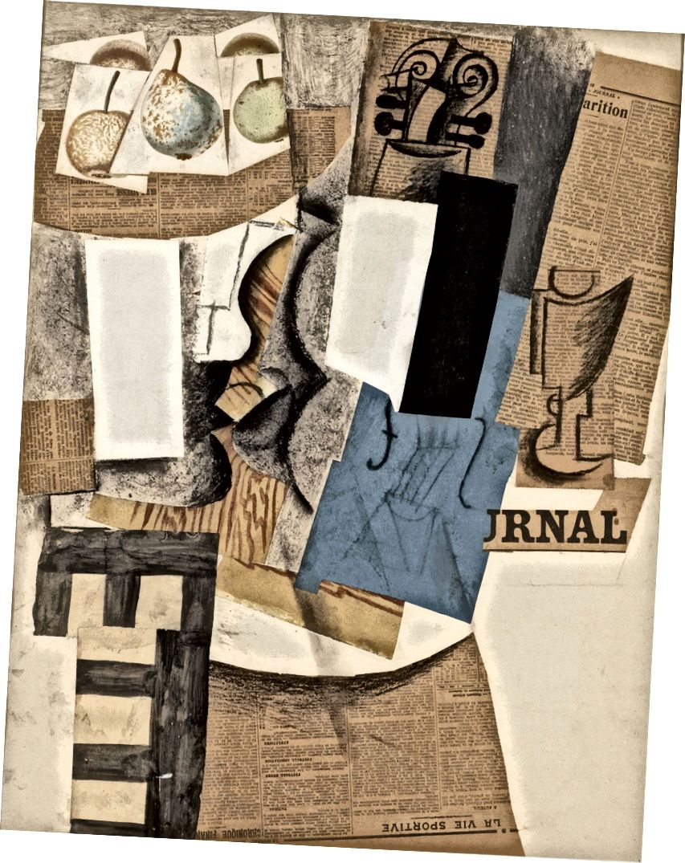 Pablo Picasso, Komposition mit Violine, Obst und Glas, 1912. (Quelle: Wikipedia). Eine der großen technischen Neuerungen des Kubismus war die Collage: Dieses Bild enthält Zeitungen, ausgeschnittene Illustrationen von Früchten sowie Kohlezeichnungen. Schauen Sie, wie die Geige in verschiedene Oberflächen aufgeteilt wird.