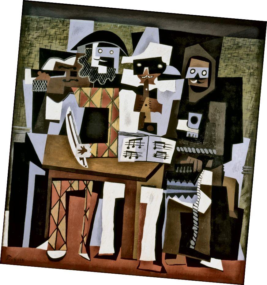 Pablo Picasso, Drei Musiker, 1921. Obwohl es sich um ein Gemälde handelt, ahmt dieses Bild die Flachheit der Collage nach. Der Kubismus hatte einen enormen Einfluss auf die Entwicklung der abstrakten Kunst. (Quelle: Wikipedia)