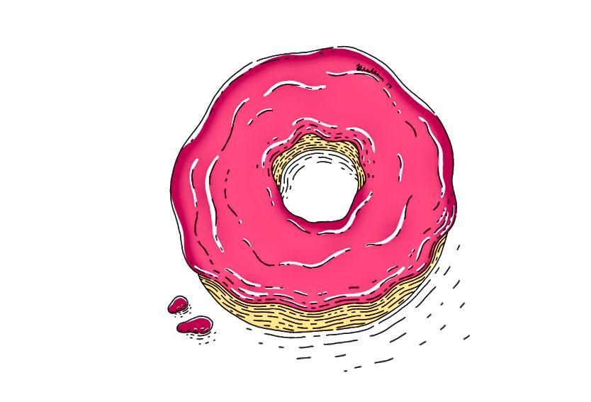 Kokosové jahodové koblihy mohou být návykové. Ilustrace od autora.