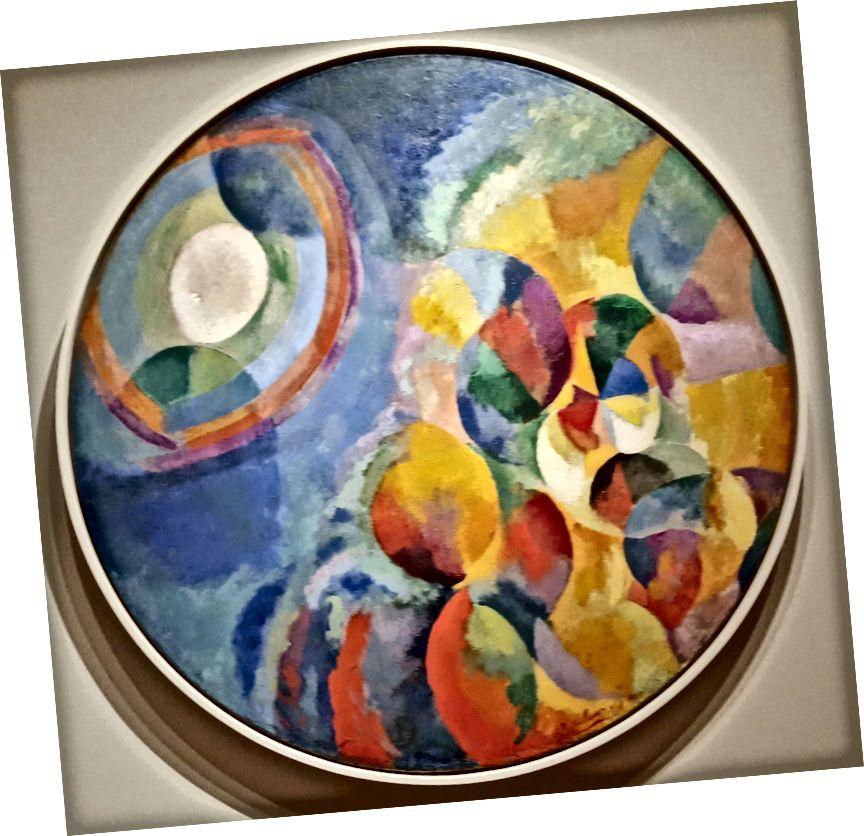 "L to R: Stephen Brophy, ""Studie duhových barev"", 1974, olej na dřevo, 24"