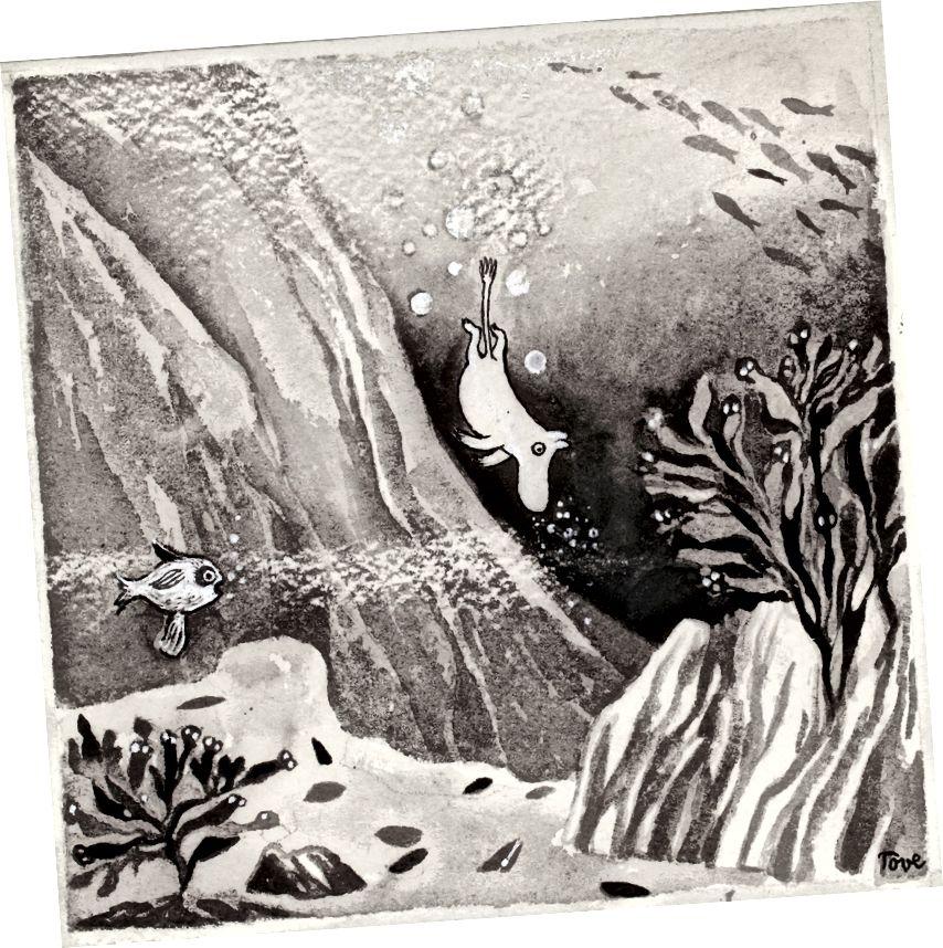 Tove Jansson, 'Moominland'dakı Comet' kitabı üçün illüstrasiya, 1946