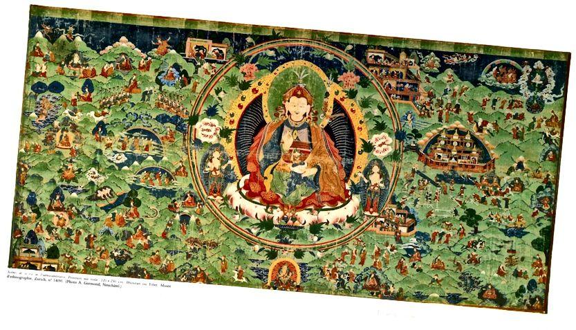 পদ্মসম্ভবের জীবন থেকে দৃশ্যগুলি। ভুটান বা তিব্বত; সিএ 18 তম শতাব্দী. কাপড়ে পিগমেন্টস। | জুরিখ বিশ্ববিদ্যালয়ের এথনোগ্রাফিক জাদুঘরের সৌজন্যে