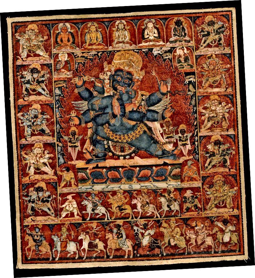 আটটি ব্যাবহারের বজ্রকিলায়। তিব্বত; সিএ 13 শতাব্দীর শেষের দিকে। কাপড়ে পিগমেন্টস। | সৌজন্যে রুবিন মিউজিয়াম অফ আর্ট