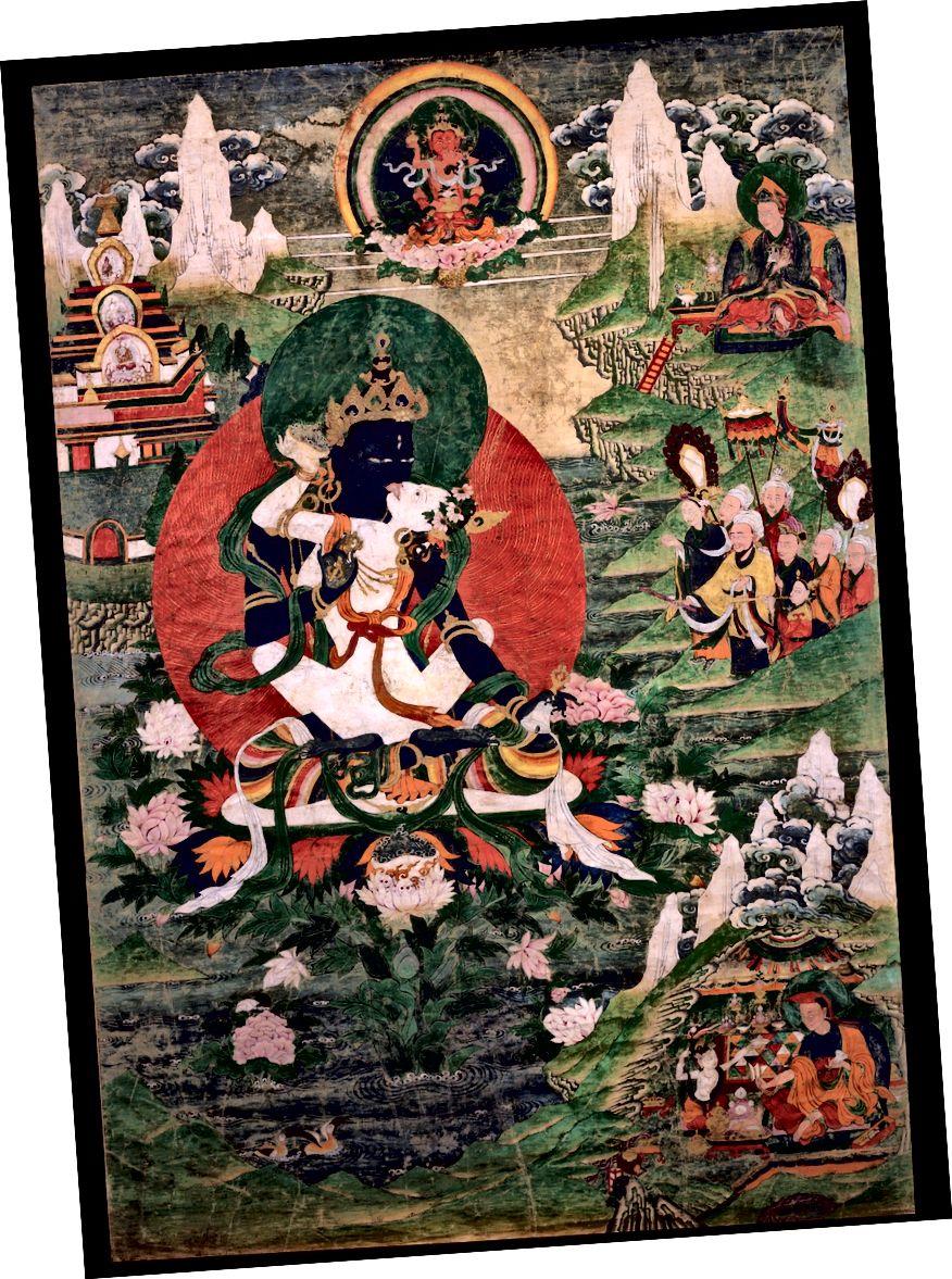 অর্গেন দোর্জে চ্যাং চরিত্রে পদ্মসংশাভ। তিব্বত; 19 তম শতক. তুলার উপর স্থল খনিজ রঙ্গক। | সৌজন্যে রুবিন মিউজিয়াম অফ আর্ট
