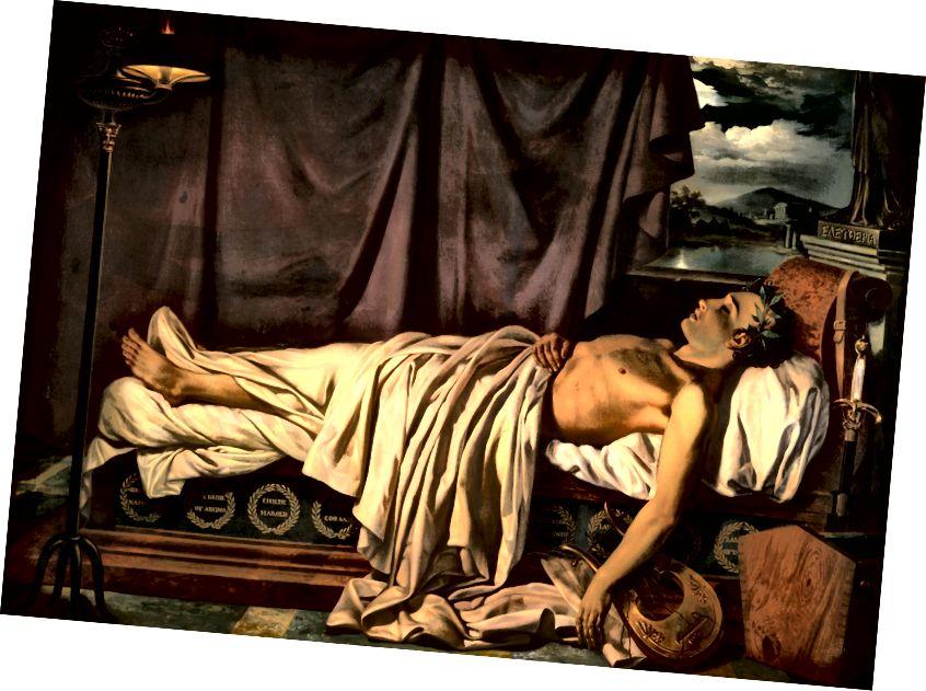 Ölüm yatağında Lord Byron, Cozef Denis Odevaere. Romantizasiyalı ölüm.