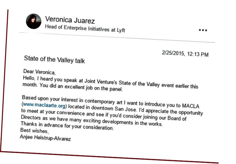 Zpráva LinkedIn od Anjee Helstrup-Alvarez (výkonný ředitel MACLA) adresovaný Veronica Juarez (vedoucí podnikových iniciativ v Lyft).