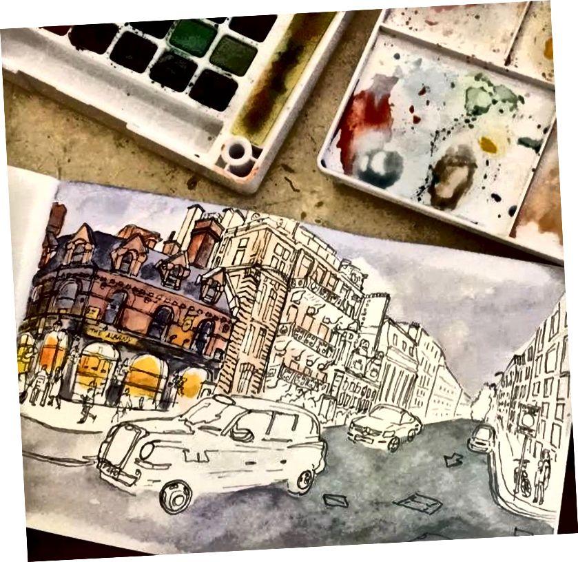 صورة التقدم 2: ليس سيئا. أعتقد أنني بدأت في حفر الألوان المائية. المعنويات مرتفعة. ربما سأعلقها على حائطي.