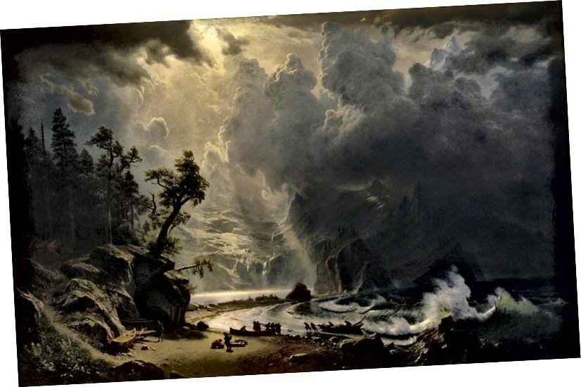 Albert Bierstadt - Sakit Okean Sahilindəki Puget Səs, 1870. Kətan yağ.