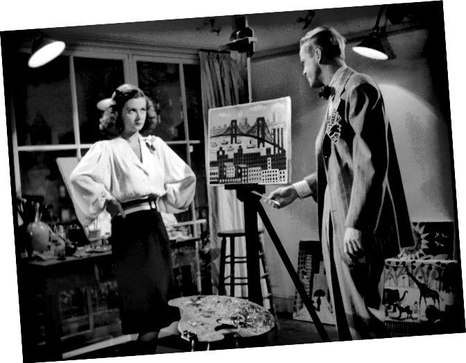 """Joan Bennett (Kitty March) gegenüber Dan Duryea (Johnny) in der """"Scarlet Street"""" (1945). Beachten Sie ihre manipulativen, aber traurigen Augen, als Johnny sie unter Druck setzt, Christophers Gemälde als ihr eigenes zu signieren."""