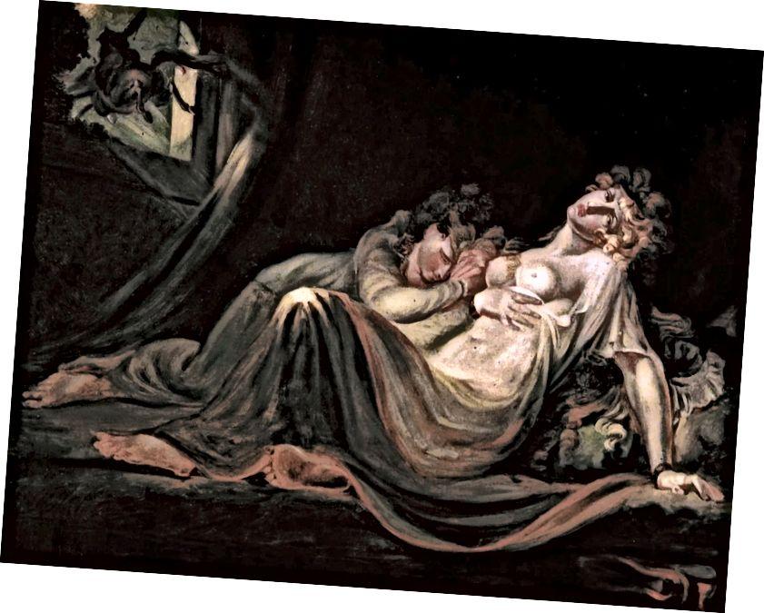 Инкуб, който оставя две спящи момичета, Фусели