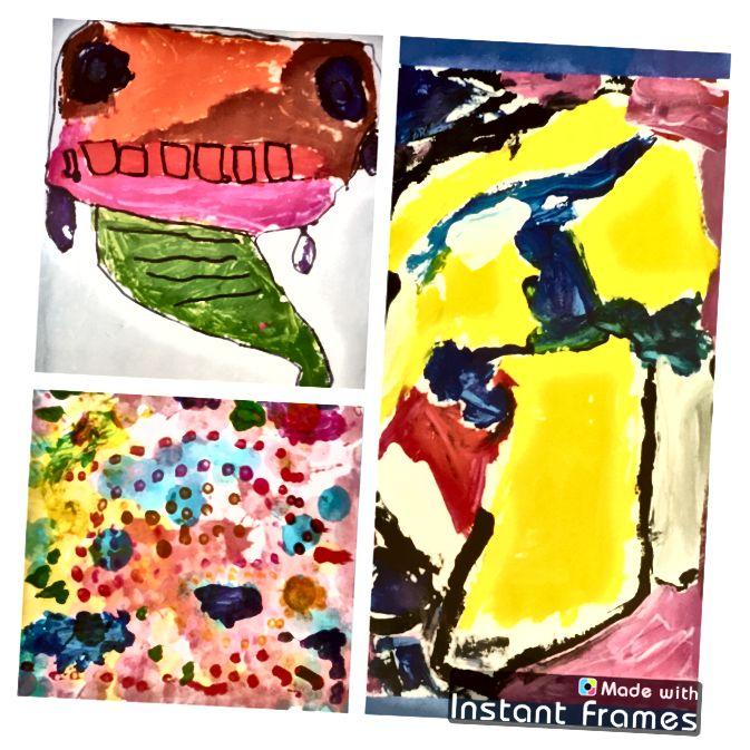 Originální umění mé dcery, ve věku 4: napodobování stylu Rousseau, Kandinsky, Seurat