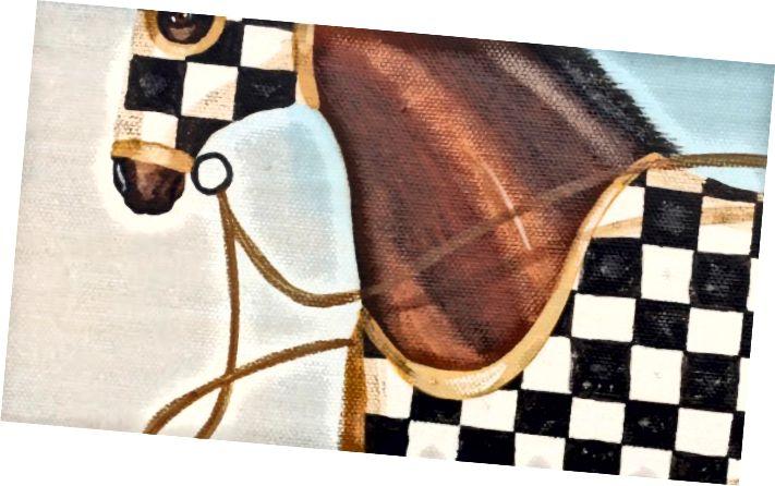 కాన్వాస్ రేస్ హార్స్ పెయింటింగ్స్పై నాలుగు ఆయిల్ సెట్ యుఎస్ సిర్కా 1980 రెఫ్: 4177 www.fshenemaderantiques.com