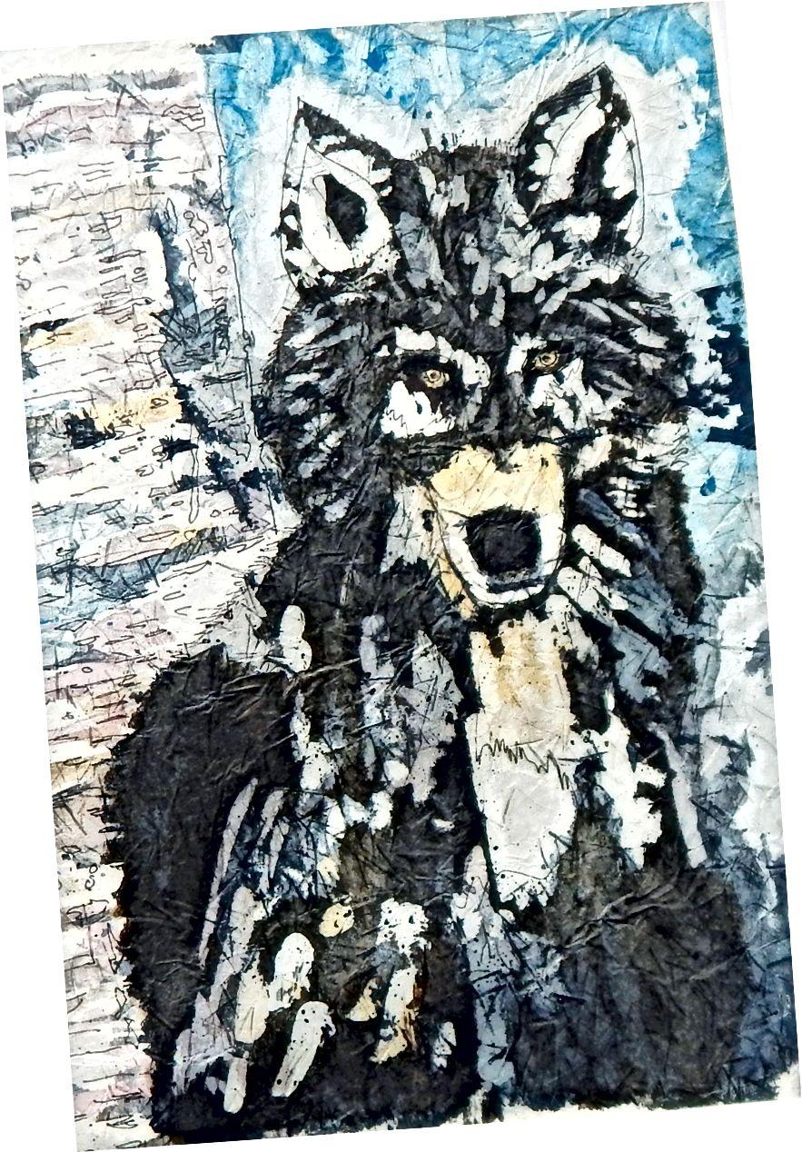 Aquarel Batik - wolf in de winter
