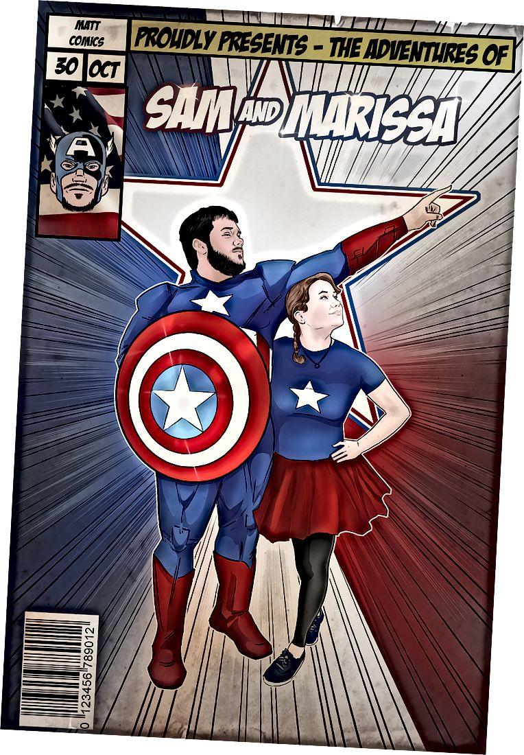 Benutzerdefinierte Comic-Kunst von Captain America für Sam und Marissa.