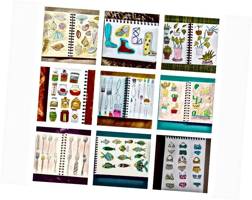 Některé z mých kreseb pro denní výzvu CreativeBug s Lisou Congdonovou