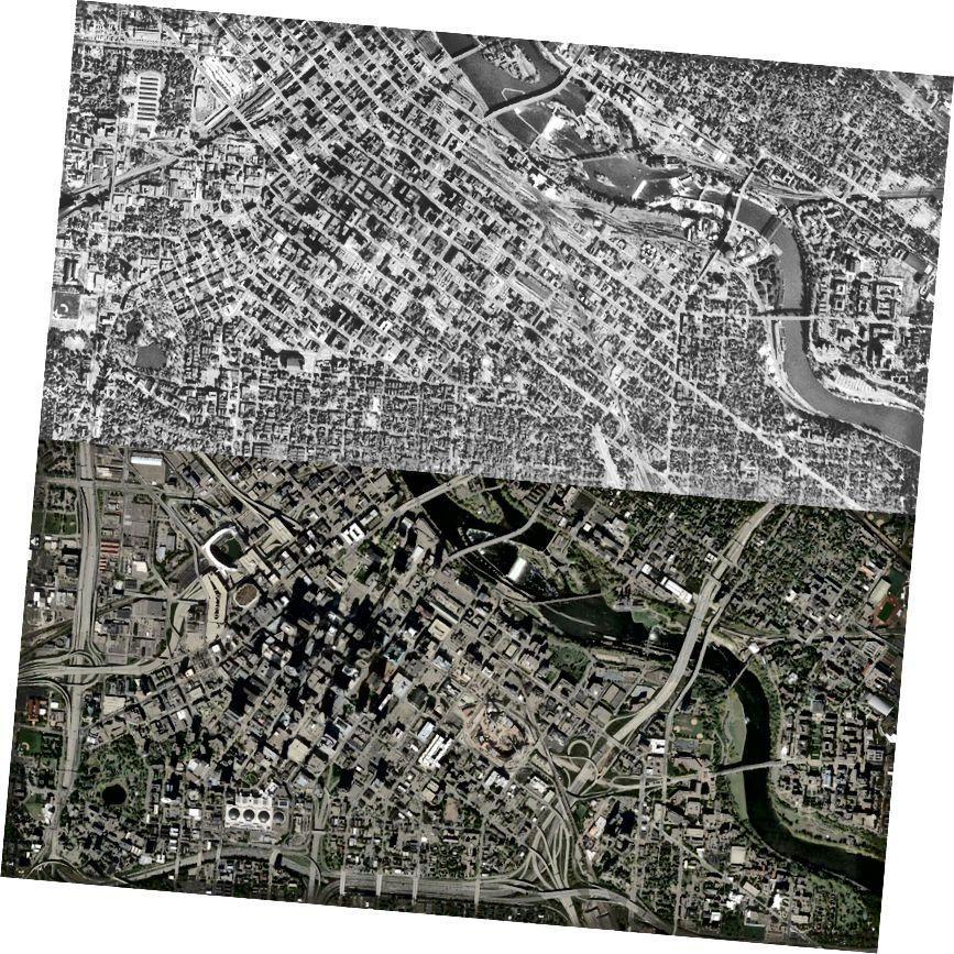 Downtown Minneapolis (1953 və 2014-cü illərdə göstərilmişdir) sıx şəhər məhəllələri hesabına dövlətlərarası avtomobil yolları ilə əhatə olunmuşdur. Oklahoma Universiteti Keyfiyyətli İcmalar İnstitutu.