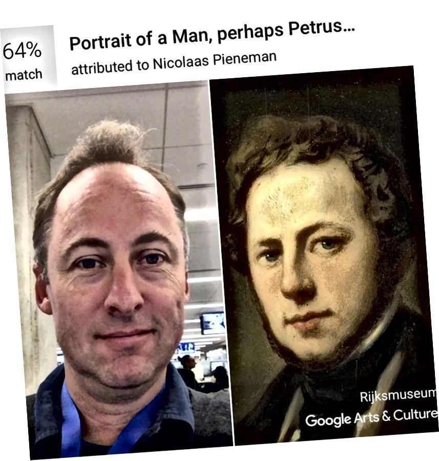 Pomocí aplikace Google pro umění a kulturu získá umělecký kritik Sebastian Smee 64% zápas s portrétem připisovaným Nicolaasovi Pienemanovi v amsterdamském Rijksmuseum. (Sebastian Smee / Google Arts & Culture)
