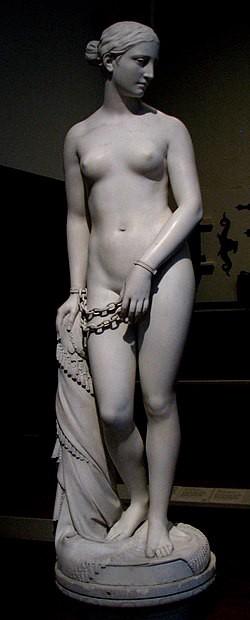 Řecký otrok americkým sochařem Hiramem Powersem (1843)