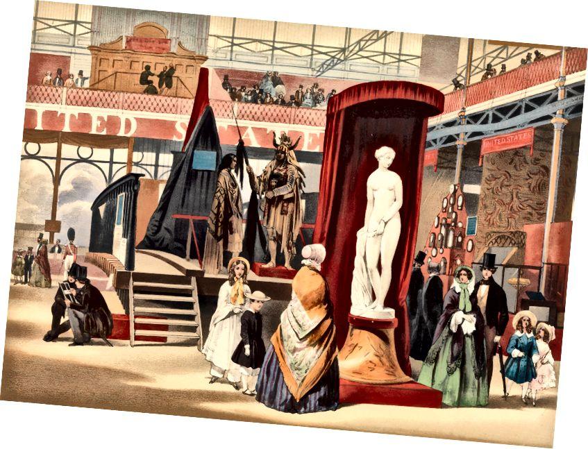 Pohled ve východní lodi (řecký otrok, moc [sic]; z Vzpomínky na velkou výstavu). Litografie 1851 John Absolon (Britové, Londýn 1815–1895).