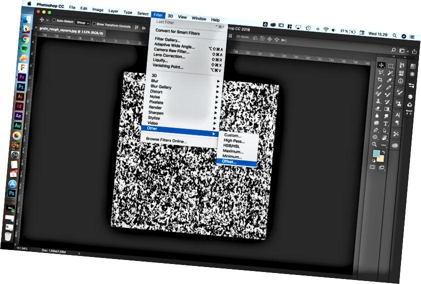 Vyhledání ofsetového filtru ve Photoshopu.