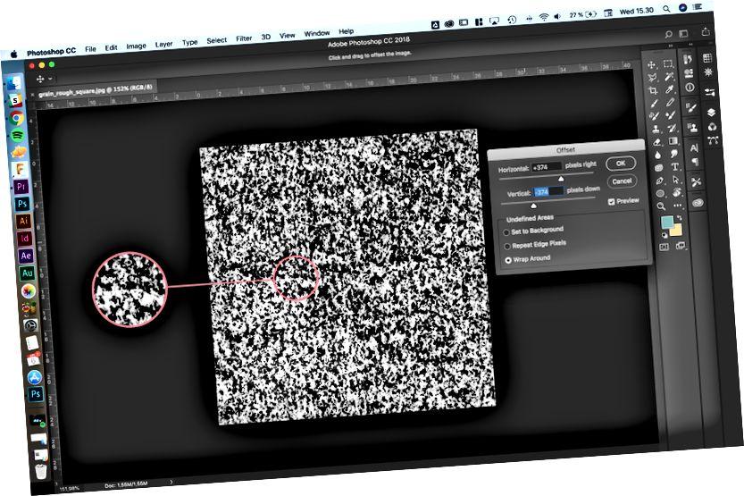 Zde vidíte švy uvnitř čtverce z použití filtru.