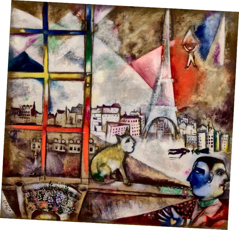 Marc Chagall, 1913, Paris par la fenêtre (Փարիզ պատուհանի միջով), կտավից յուղ, 136 x 141.9 սմ, Նյու Յորքի Սոլոմոն Ռ. Գուգենհայմի թանգարան