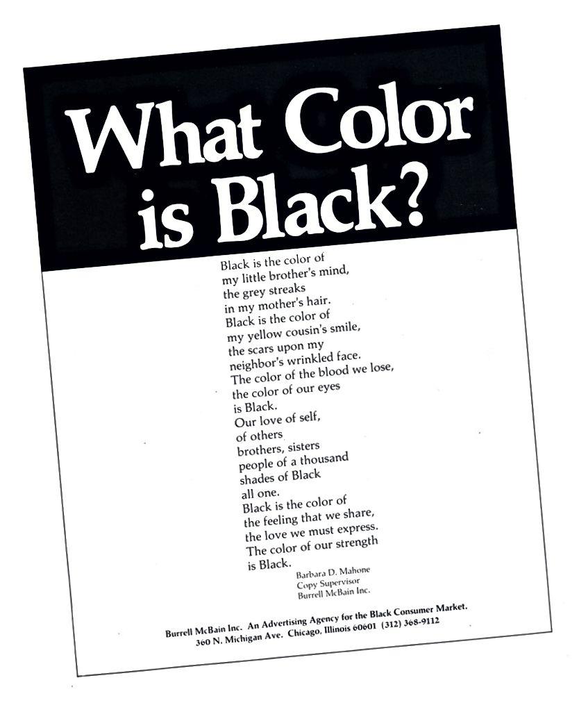 «Ինչ գույնը սև է»: բանաստեղծության գովազդը